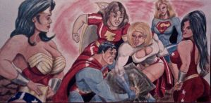 POWERGIRL ARM WRESTLING SUPERMAN by MajorO