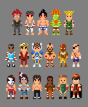 Street Fighter II Characters 8 bit by LustriousCharming
