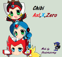 Chibi DogPile Axl,X and Zero by Shadethebathog