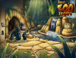 A Gorilla Room Painting for the Great Zoo Escape by BryanHeemskerk