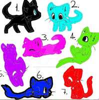 OPEN- 1 point Colored Cats adoptables by muffinthehamster11