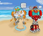 Blades and Heatwave on the beach by Metalchick36