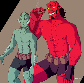 Abe and Hellboy by Friwil