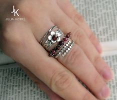 Stackable sterling silver rings Royal by JSjewelry