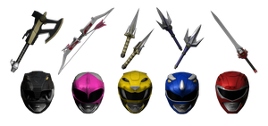 Power Rangers Helmets and Weapons by bogeymankurt