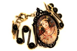 Steampunk Bracelet - Alphonse Mucha by CatherinetteRings