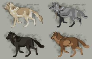 Semi-Realistic Wolf Adoptables 2 - CLOSED by Therbis