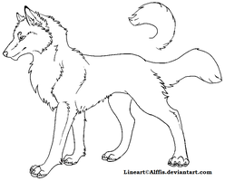 New free wolf/dog lineart by Alffis