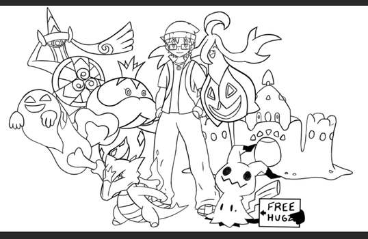 Pokemon Trainer / Team - Sugimori Style - Lineart by SMPGaming