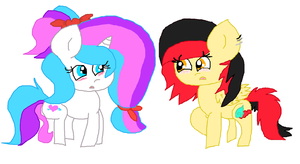 Mlp Fim  Art Trade: lovers?or not? by cottoncloudyfilly