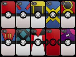 Pokeballs iPhone Cases by V-spitter