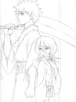 Rukia and Ichigo Sketch by KitsuneKimono