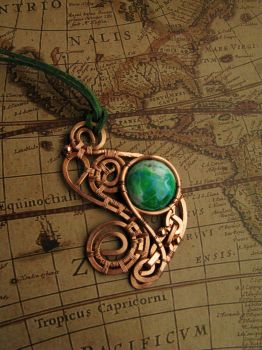 Copper pendant with variscite - rework 2 by Bohemi-enne