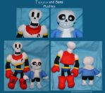 Papyrus and Sans Plushies by DonutTyphoon