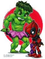 Lil Deadpool 'n' Hulkie by lordmesa