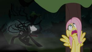 Fluttershy meets Slendermane by Chaz1029