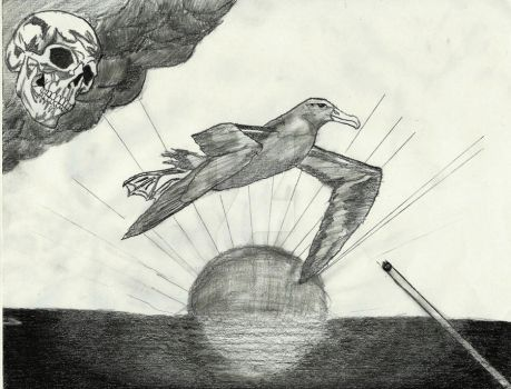 Albatross flying over the ocean in front of a risi by GalaxyDestroyer