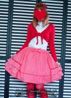 Red and white striped skirt by zeloco