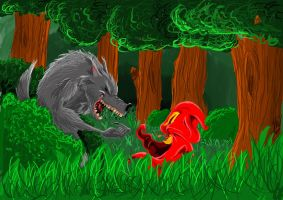 Little Red and the Wolf by MarkHoro