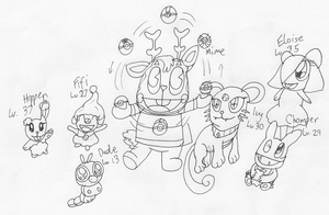 Mime and his Pokemon by RussellMimeLover2009