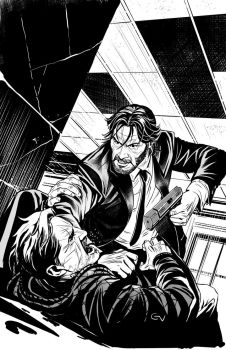John Wick #1 cover inks by GIO2286