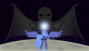 Luna vs. Cthulhu by adcoon