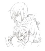 His comforting arms sketch by ryuuen