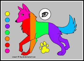 Wolf Lineart Rainbow by tuffpuppy101