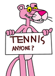 Pink Panther with Tennis Anyone sign by MarcosPower1996