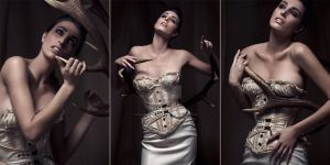 Tea dying corset underbust and matching bra by AtelierSylpheCorsets