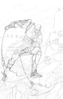 Kratos Gow Rough Outline by aresgear