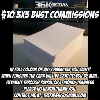 $10 3x5 Bust Card Commissions by the-kid36