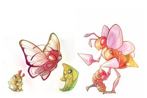 Beedrill and Butterfree Families