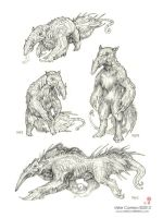 Ant eater/armadillo Creature sketches by MIKECORRIERO