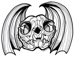 Cat Skull with Bat Wings by sammo371