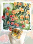 Tulips And Narcissus Silk Scarves by MinkuLul