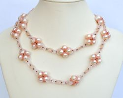 Two strand necklace with pink pearls N746 by Fleur-de-Irk