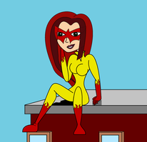 Firestar Posing on the rooftop by MasterghostUnlimited