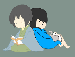 Japan and Lindsey napping chibi by RosetheSeedrian
