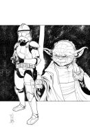Commanders and Generals: Gree and Yoda Inks by Hodges-Art