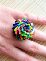 OOAK Duct Tape Rose Ring - 3 by QuietMischief