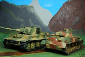 Tiger I and Panzer IV by 12jack12