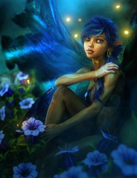 Blue Fairy Girl Fantasy Art by shibashake