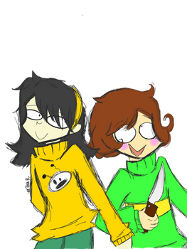 Chara and Leslie - FanArt [south park/Undertale] by TINA-RODRIGUEZ