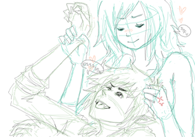 Fionna x Marshal Lee WIP by DeliriouslyDEAD
