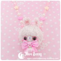 Pastel baby rabbit Necklace by CuteMoonbunny