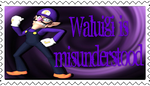 Waluigi is misunderstood stamp by thekingofsarasaland