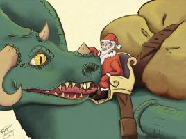 Santa Claus with dragon by ratcreature