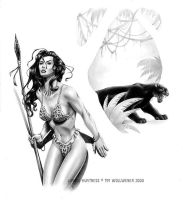 The Jungle Huntress - graphite by Timbone