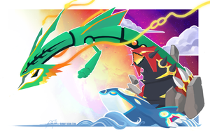Kyogre, Groudon, Rayquaza - Pokemon Speed Painting by BonnyJohn